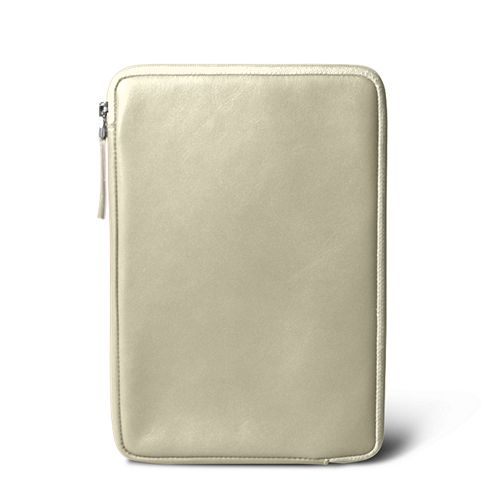 Zipped pouch for iPad Mini - Off-White - Smooth Leather
