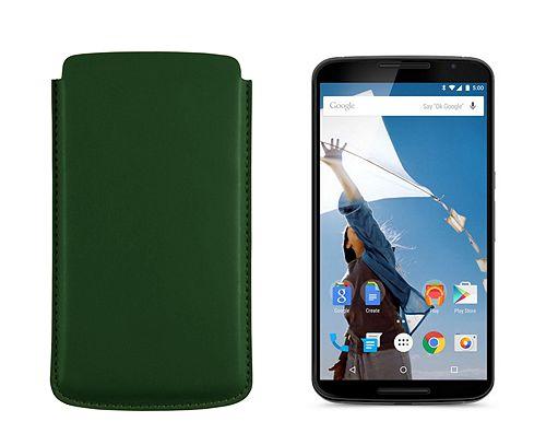Sleeve for Motorola Nexus 6 - Dark Green - Smooth Leather