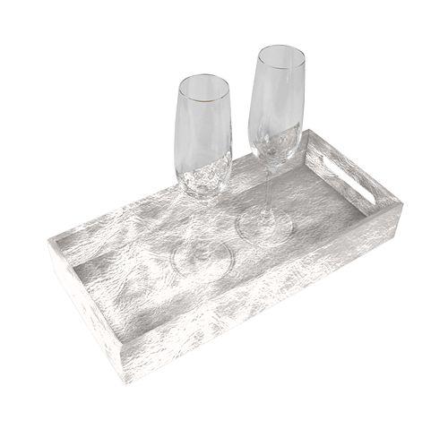 Presentation Tray 13.8 x 6.3 inches - Silver - Metallic Leather