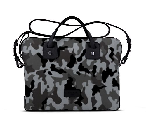 Canvas Satchel Briefcase (13 inches) - Mouse Grey-Black - Camouflage