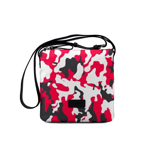 Small Canvas Messenger Bag - Red-Black - Camouflage