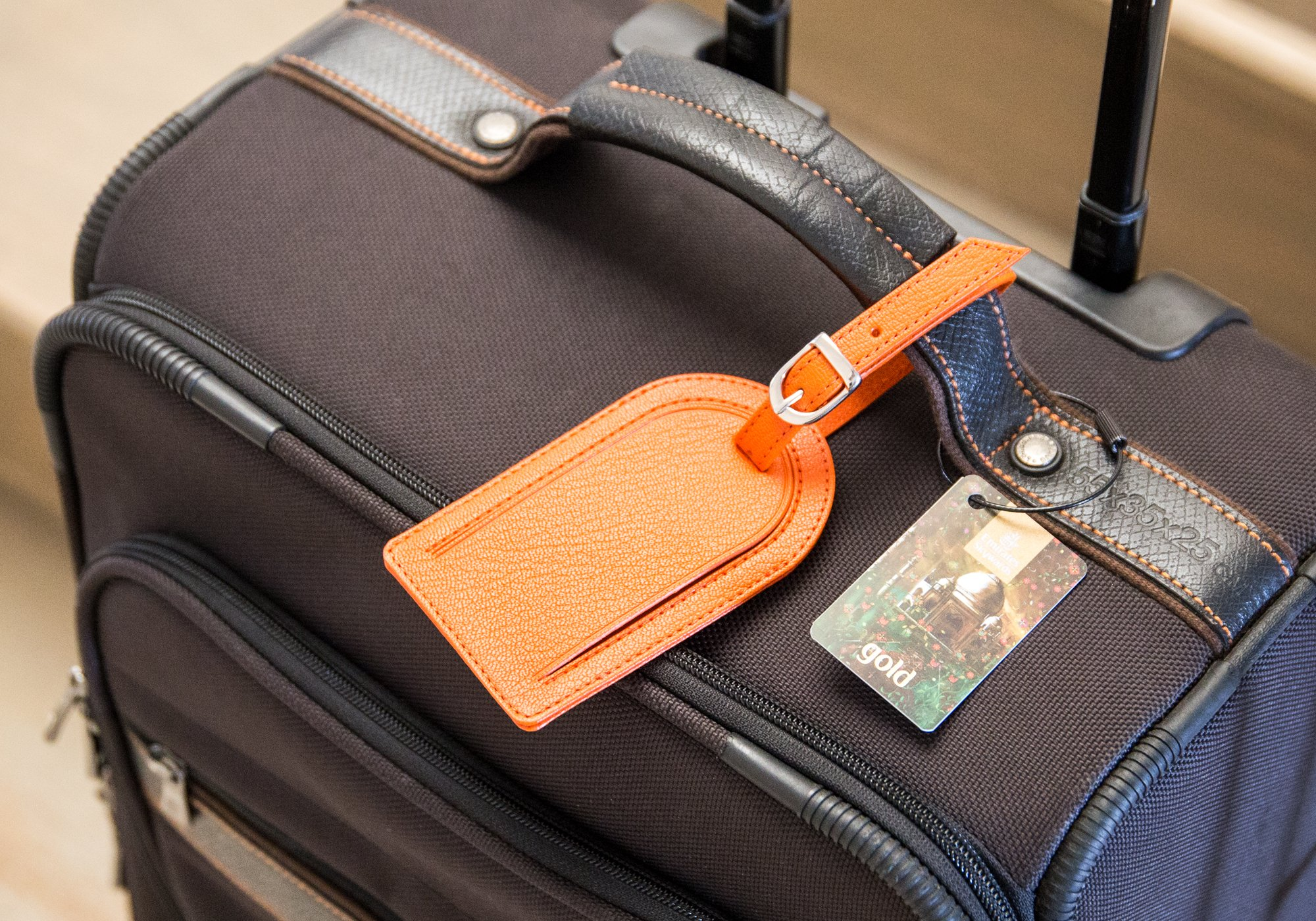 leather oval luggage label