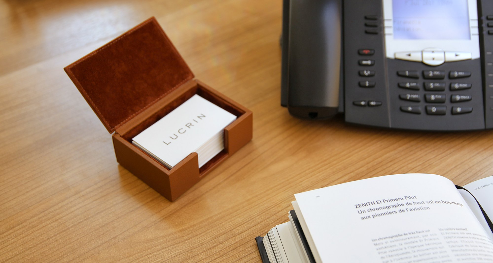 Leather box for business cards here is the box for business cards in authentic premium leather coming with an intelligent opening couple with a closure tab it is basically a wooden magicingreecefo Images