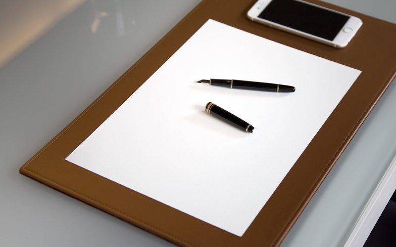 rigid leather desk pad. Black Bedroom Furniture Sets. Home Design Ideas