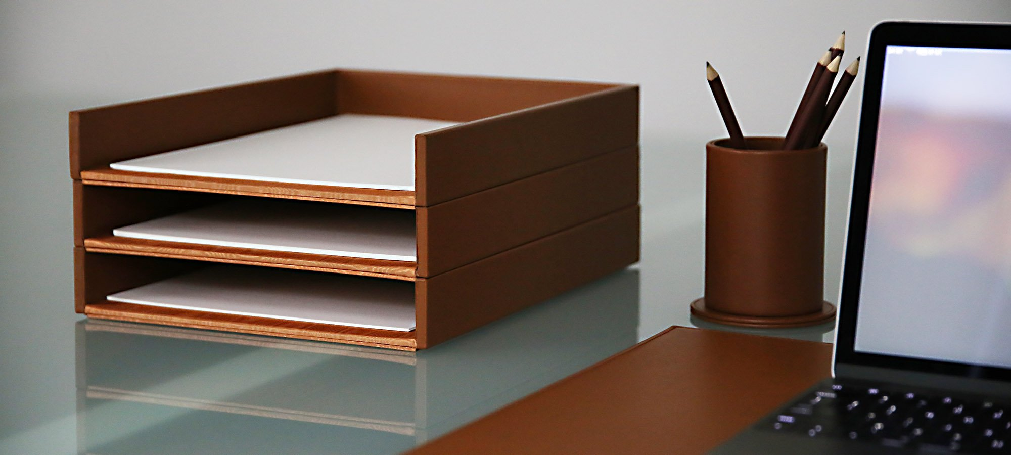 Office Letter Trays Designs Paper Tray 1 Stage Desk Storage Wood