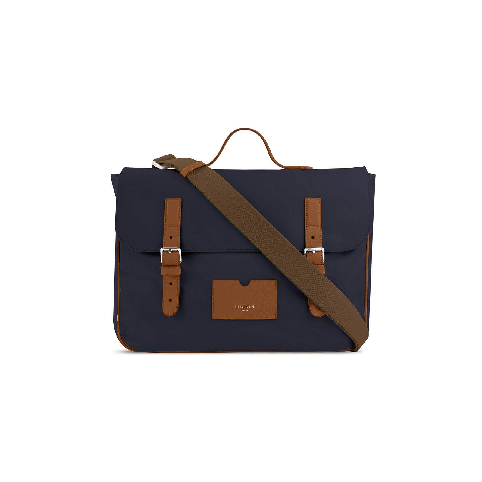 83d4d2095 Bolso de cartero en cuero y nailon Coñac-Azul marino - Canvas Bolso de  cartero en cuero y nailon Coñac-Azul marino - Canvas 