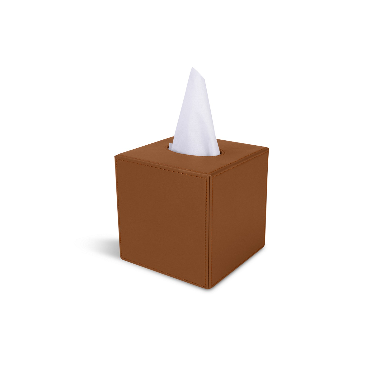 Square Tissue Box Holder Tan Smooth Leather