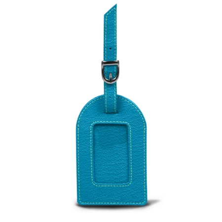 Oval luggage label - Turquoise - Goat Leather