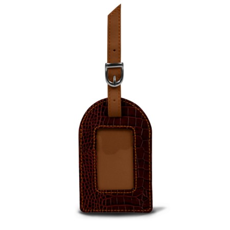 Oval luggage label - Tan - Crocodile style calfskin