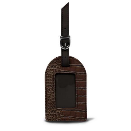 Oval luggage label - Brown - Crocodile style calfskin