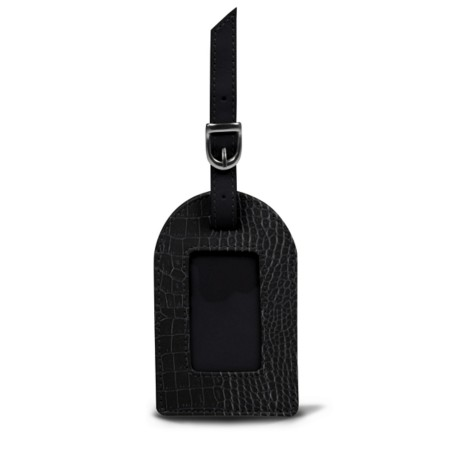 Oval luggage label - Black - Crocodile style calfskin