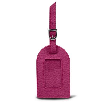 Oval luggage label - Fuchsia  - Granulated Leather