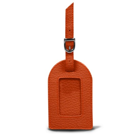 Oval luggage label - Orange - Granulated Leather
