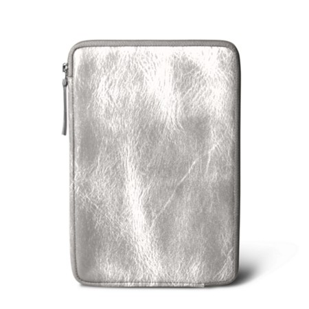 Zipped pouch for iPad Mini - Silver - Metallic Leather