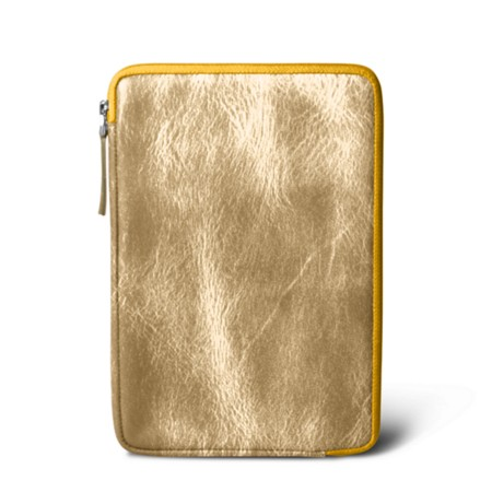 Zipped pouch for iPad Mini - Golden - Metallic Leather