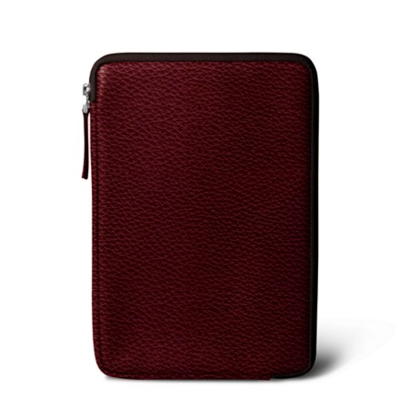 Zipped pouch for iPad Mini - Burgundy - Granulated Leather