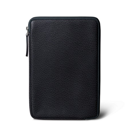 Zipped pouch for iPad Mini - Navy Blue - Granulated Leather