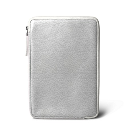 Zipped pouch for iPad Mini - White - Granulated Leather