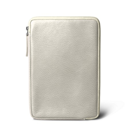 Zipped pouch for iPad Mini - Off-White - Granulated Leather