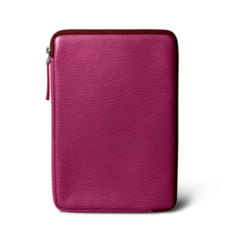 Zipped pouch for iPad Mini - Fuchsia  - Granulated Leather