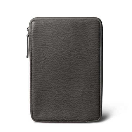 Zipped pouch for iPad Mini - Mouse-Grey - Granulated Leather