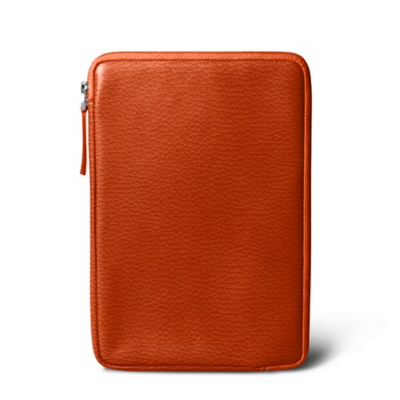 Zipped pouch for iPad Mini - Orange - Granulated Leather