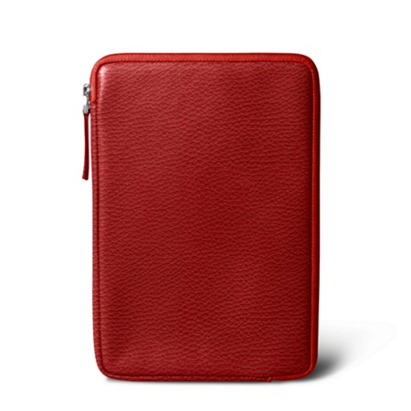 Zipped pouch for iPad Mini - Red - Granulated Leather
