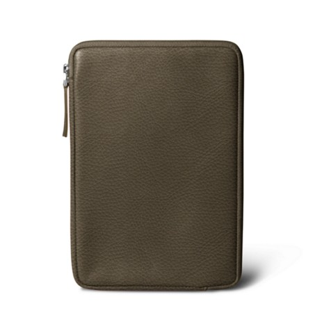 Zipped pouch for iPad Mini - Dark Taupe - Granulated Leather