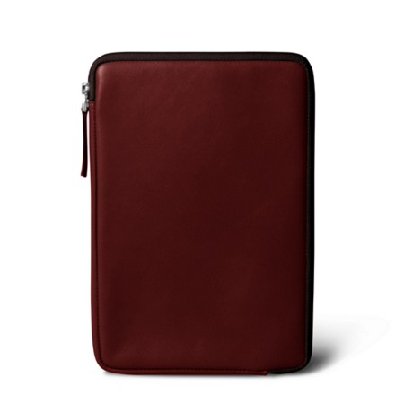 Zipped pouch for iPad Mini - Burgundy - Smooth Leather