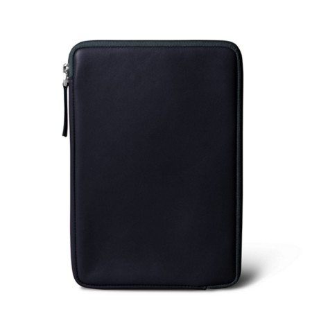 Zipped pouch for iPad Mini - Navy Blue - Smooth Leather