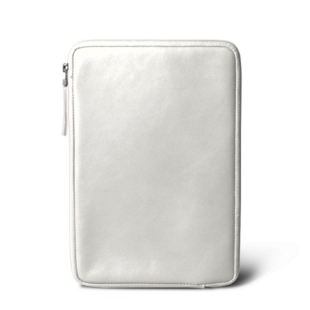 Zipped pouch for iPad Mini - White - Smooth Leather