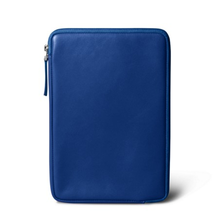 Zipped pouch for iPad Mini - Royal Blue - Smooth Leather