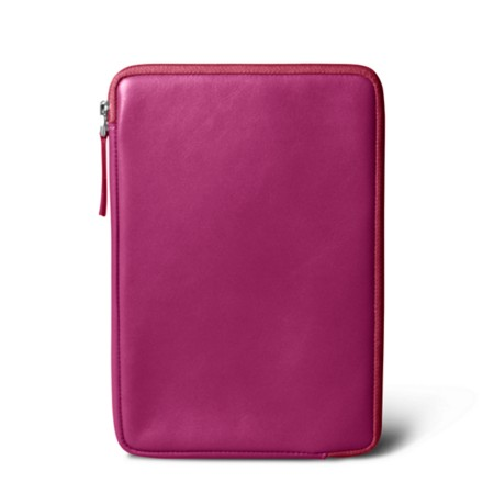 Zipped pouch for iPad Mini - Fuchsia  - Smooth Leather