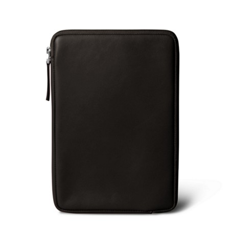 Zipped pouch for iPad Mini - Brown - Smooth Leather