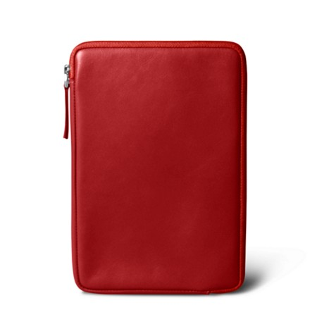Zipped pouch for iPad Mini - Red - Smooth Leather