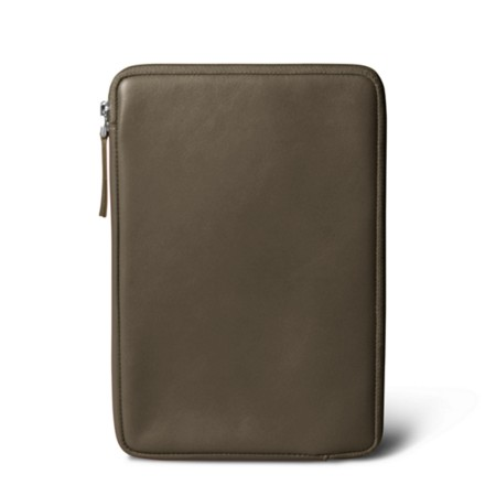 Zipped pouch for iPad Mini - Dark Taupe - Smooth Leather
