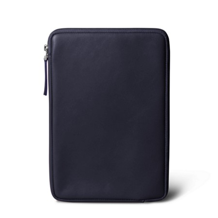 Zipped pouch for iPad Mini - Purple - Smooth Leather
