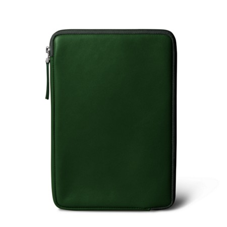 Zipped pouch for iPad Mini - Dark Green - Smooth Leather