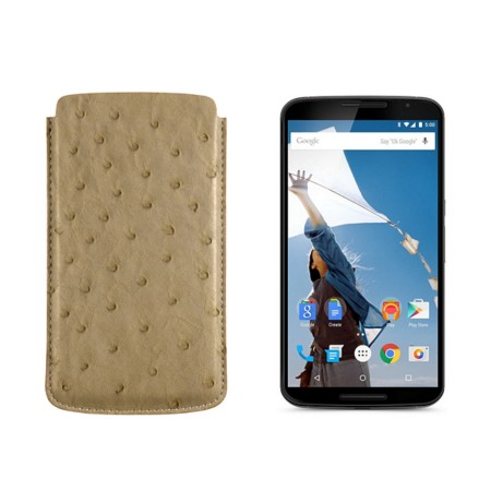 Sleeve for Motorola Nexus 6 - Beige - Real Ostrich Leather