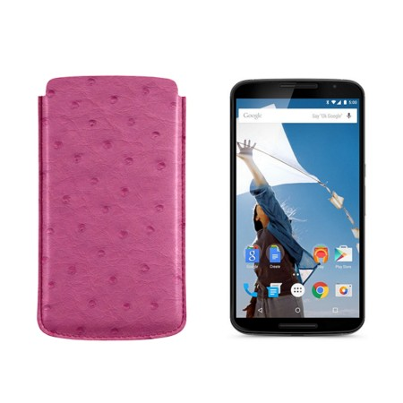 Sleeve for Motorola Nexus 6 - Fuchsia  - Real Ostrich Leather