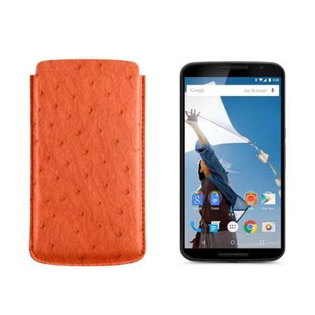 Sleeve for Motorola Nexus 6 - Orange - Real Ostrich Leather