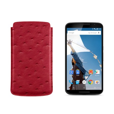 Sleeve for Motorola Nexus 6 - Red - Real Ostrich Leather