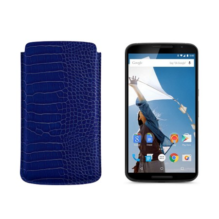 Sleeve for Motorola Nexus 6 - Royal Blue - Crocodile style calfskin