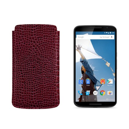 Sleeve for Motorola Nexus 6 - Fuchsia  - Crocodile style calfskin