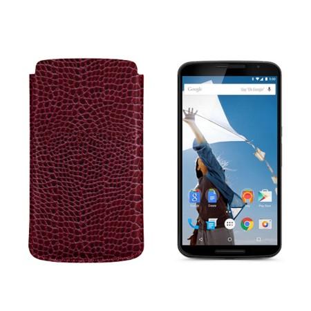 Sleeve for Motorola Nexus 6 - Fuchsia  - Crocodile style calfskin