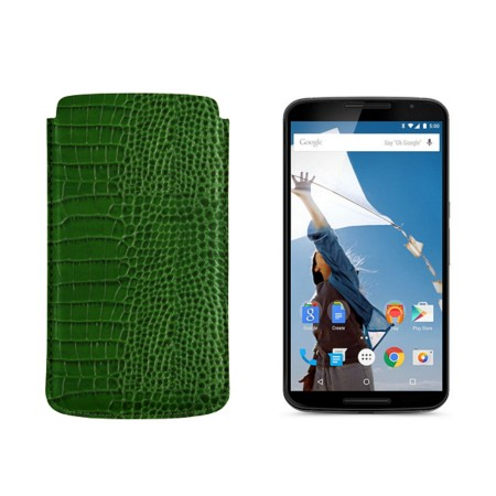 Sleeve for Motorola Nexus 6 - Light Green - Crocodile style calfskin