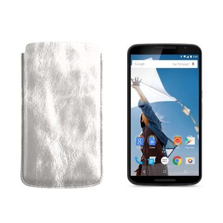 Sleeve for Motorola Nexus 6 - Silver - Metallic Leather