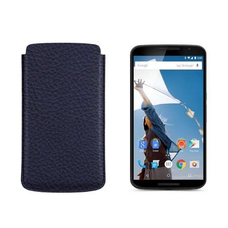 Sleeve for Motorola Nexus 6 - Navy Blue - Granulated Leather