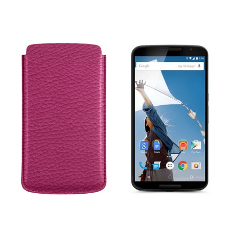 Sleeve for Motorola Nexus 6 - Fuchsia  - Granulated Leather