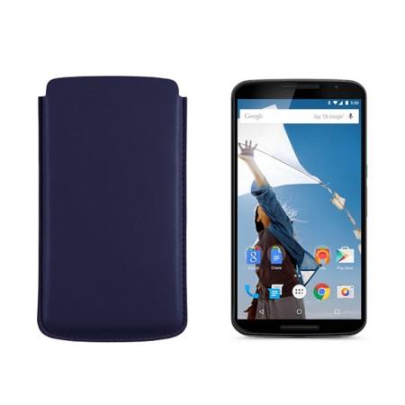Sleeve for Motorola Nexus 6 - Navy Blue - Smooth Leather